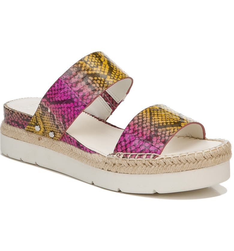 SARTO BY FRANCO SARTO Cappy Wedge Slide Sandal, Main, color, YELLOW MULTI LEATHER