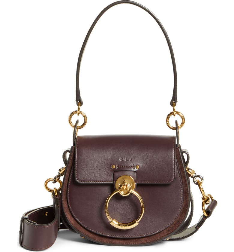 CHLOÉ Small Tess Leather Shoulder Bag, Main, color, 010