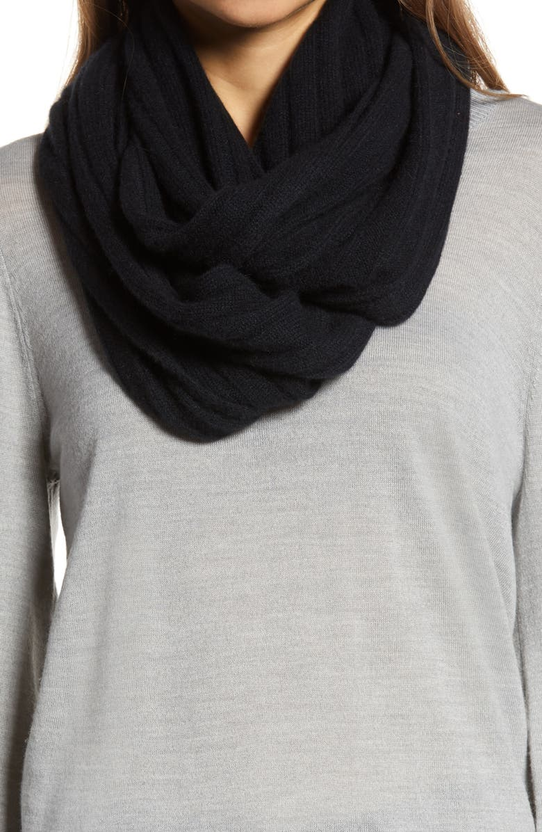 HALOGEN<SUP>®</SUP> Solid Cashmere Infinity Scarf, Main, color, 001