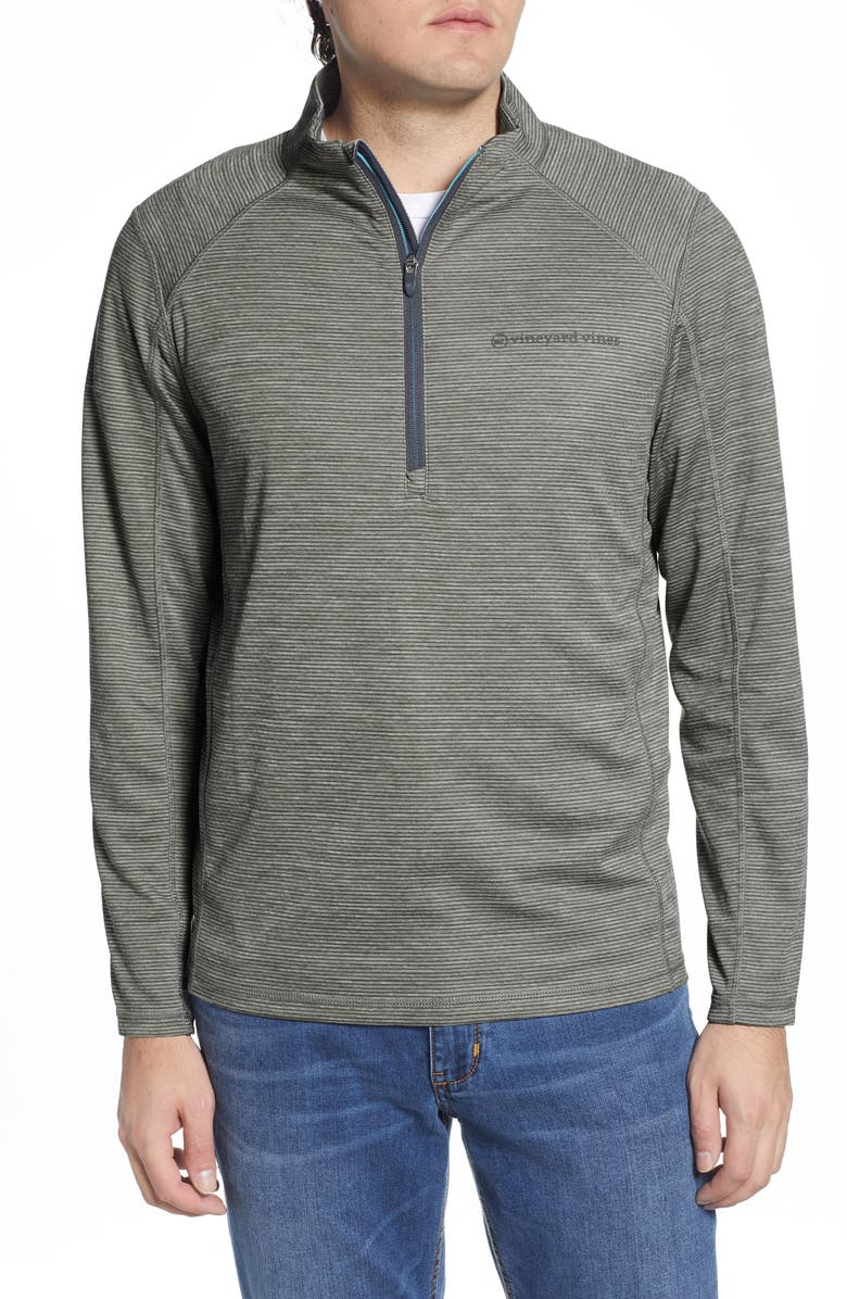 VINEYARD VINES Sankaty Stripe Half Zip Performance Pullover, Main, color, BARRACUDA