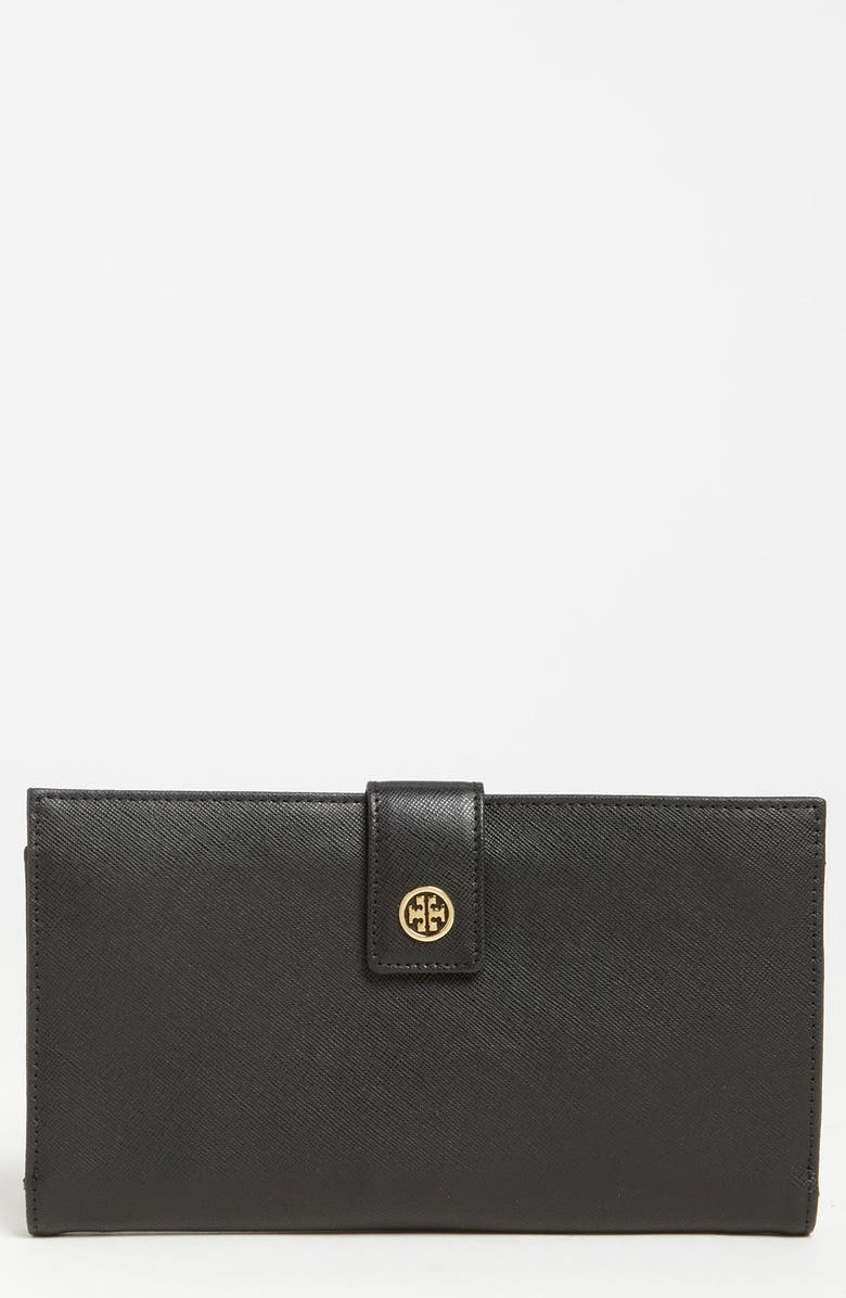 TORY BURCH 'Robinson' Oversized Travel Wallet, Main, color, Black
