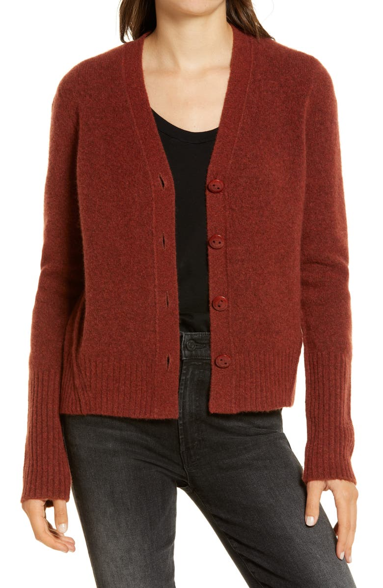 ALLSAINTS Rufa Wool Blend Cardigan, Main, color, CINNAMON MARL