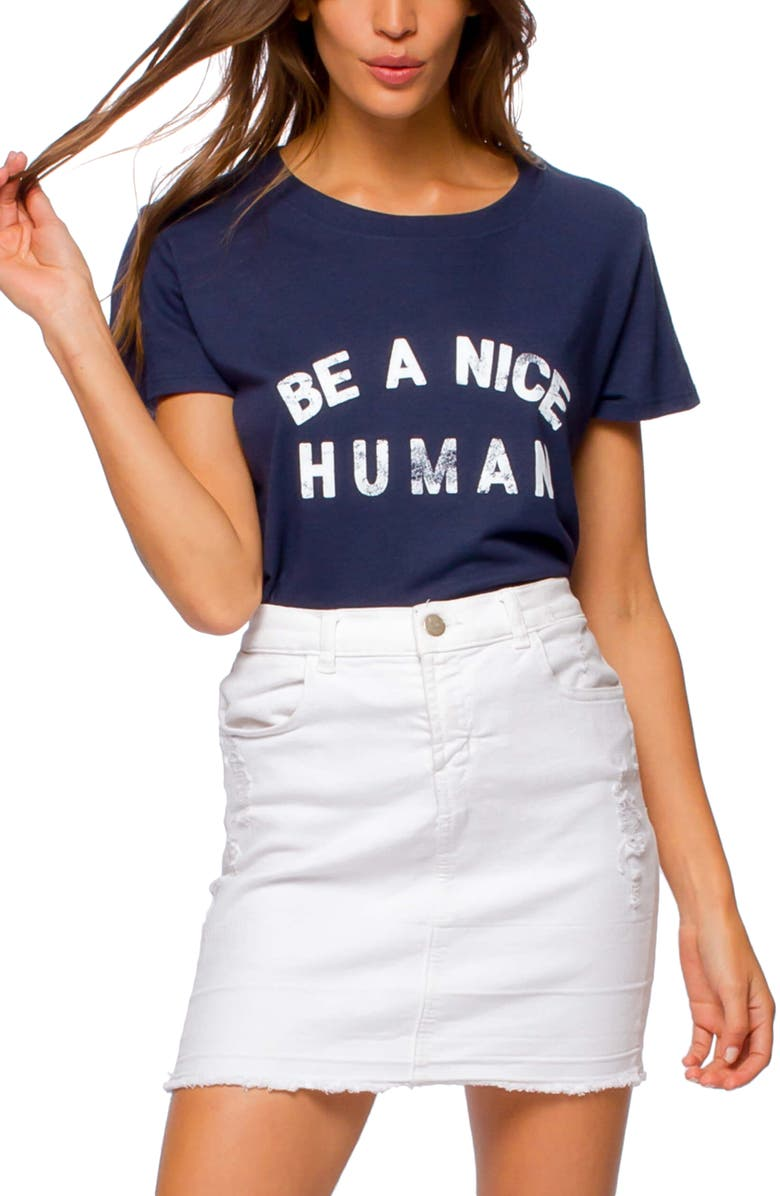 SUB_URBAN RIOT Be a Nice Human Graphic Tee, Main, color, NAVY
