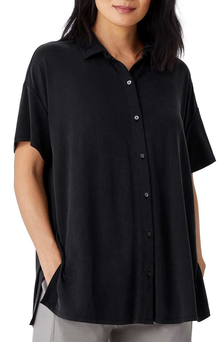 EILEEN FISHER Short Sleeve Jersey Button-Up Top, Main, color, BLACK
