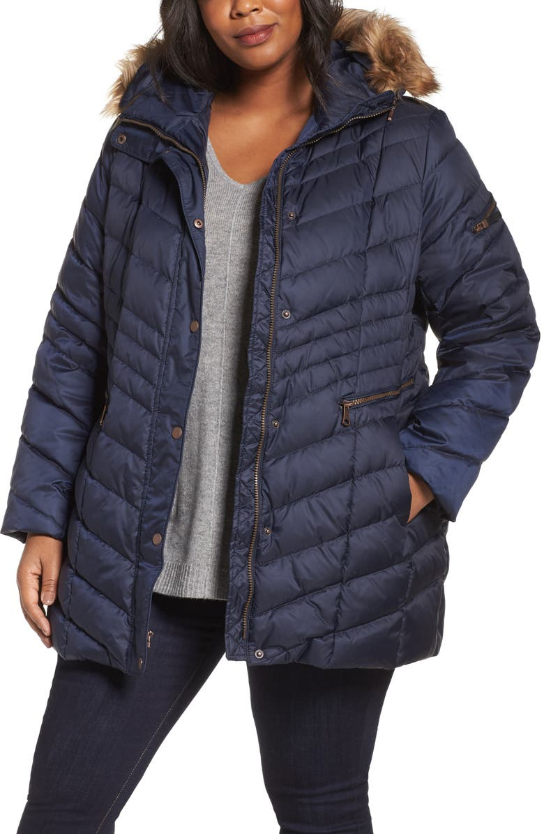 ANDREW MARC 'Renee' Chevron Quilted Coat with Faux Fur Trim Hood, Main, color, 410