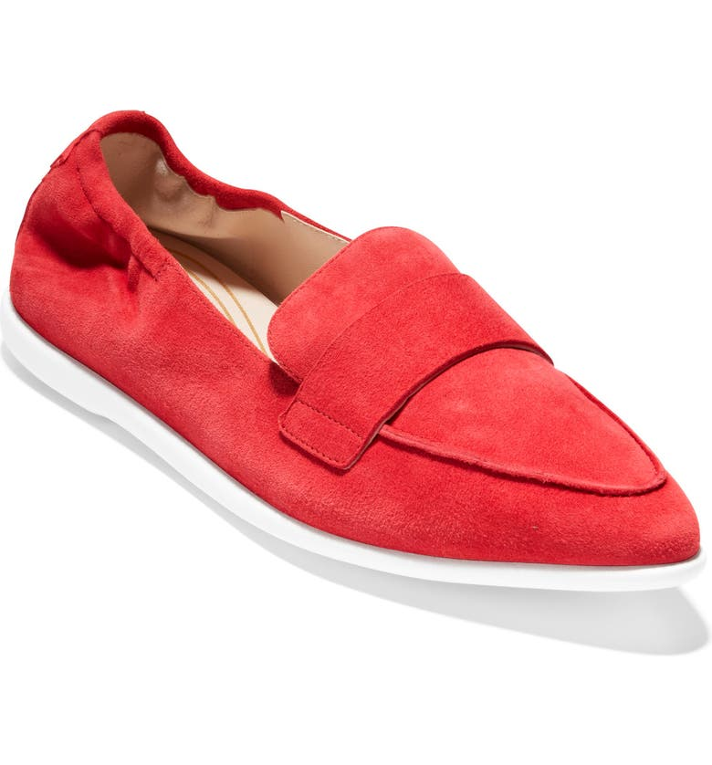 COLE HAAN Grand Ambition Amador Loafer, Main, color, TANGO RED SUEDE/ WHITE