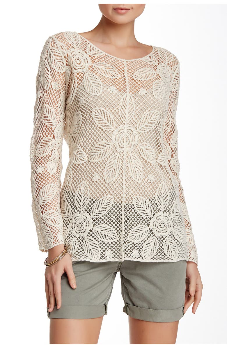 FORGOTTEN GRACE Crocheted Long Sleeve Blouse, Main, color, natural