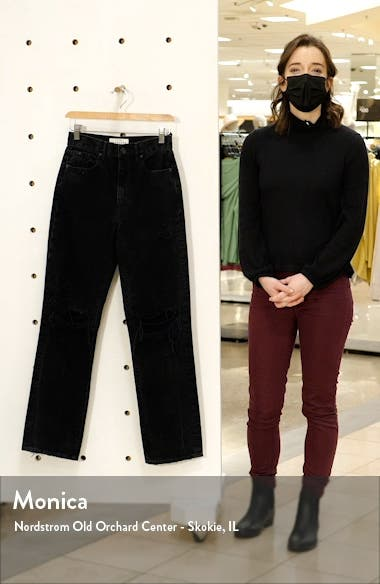 Ripped High Waist Nonstretch Straight Leg Jeans, sales video thumbnail