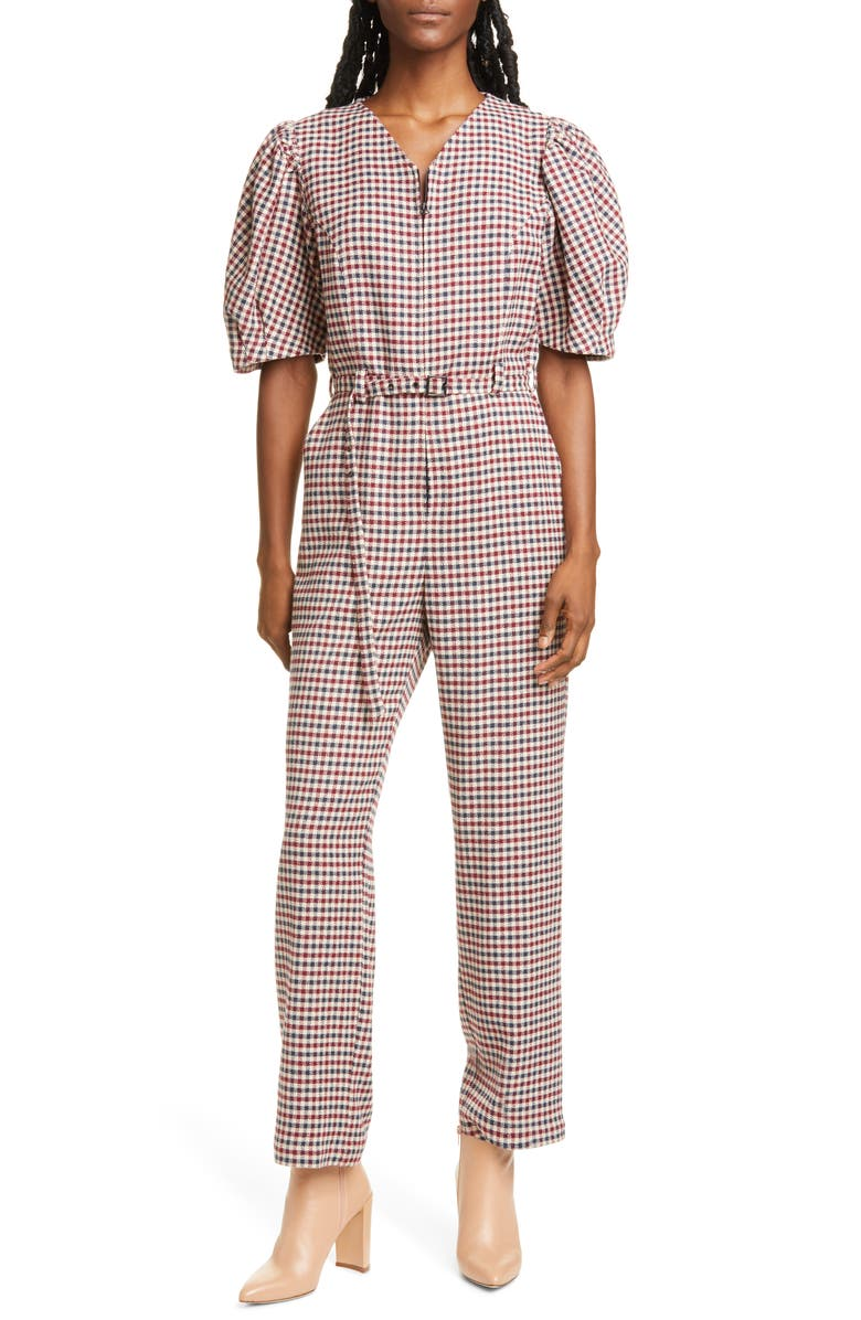 SEA Petra Houndstooth Puff Sleeve Jumpsuit, Main, color, 900