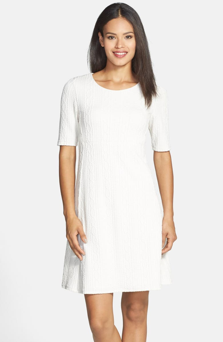 DONNA RICCO Cable Knit A-Line Sweater Dress, Main, color, 905