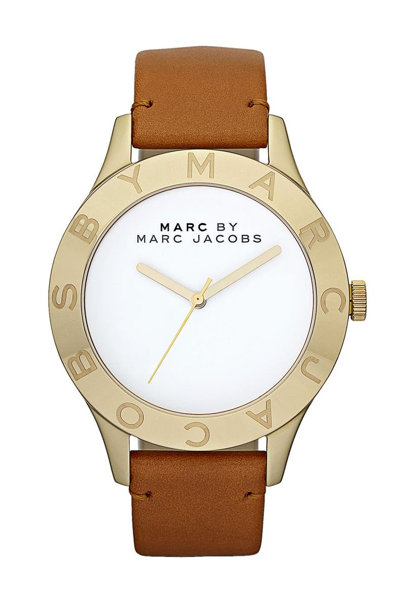 MARC JACOBS 'Large Blade' Leather Strap Watch, 40mm, Main, color, 250