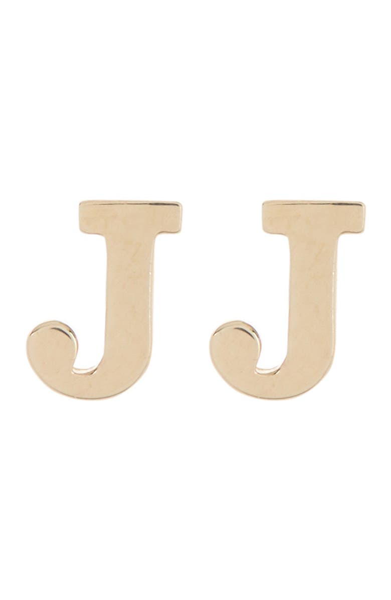 CANDELA JEWELRY 10K Gold Plated Initial Stud Earrings, Main, color, GOLD