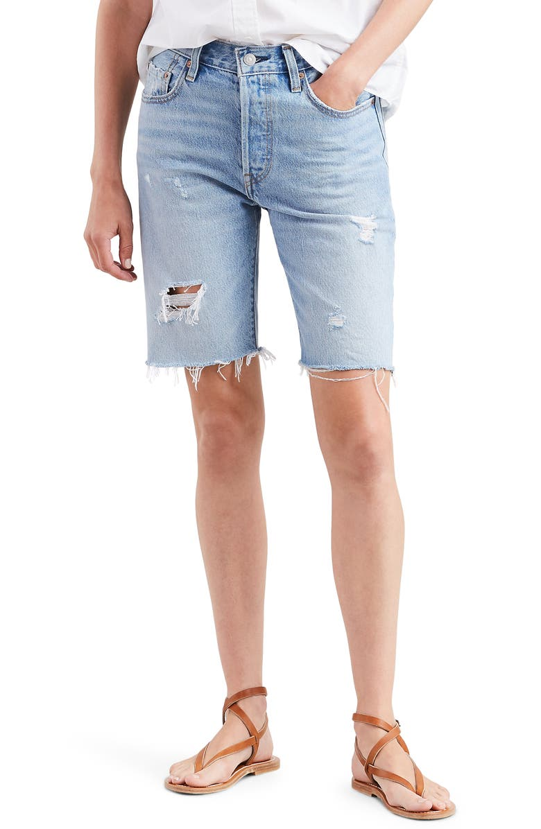 LEVI'S<SUP>®</SUP> 501<sup>®</sup> Ripped Slouch Shorts, Main, color, 420