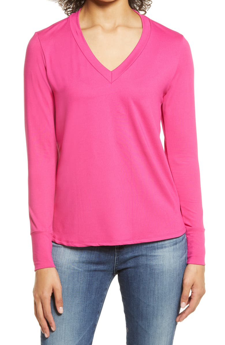 BOBEAU V-Neck Butter Top, Main, color, FUCHSIA