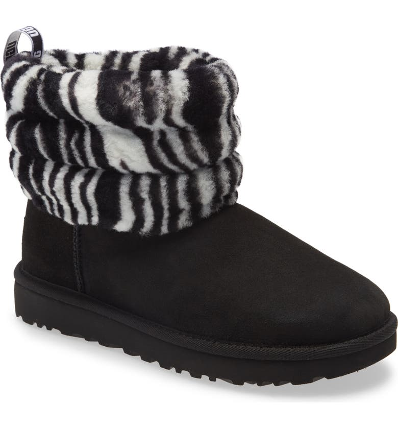 UGG<SUP>®</SUP> Mini Fluff Quilted Animal Print Boot, Main, color, BLACK SUEDE/ ZEBRA PRINT