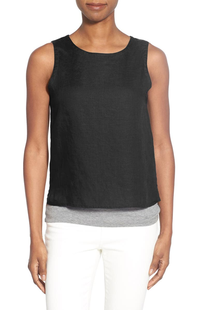 EILEEN FISHER Organic Linen Round Neck Shell, Main, color, 001