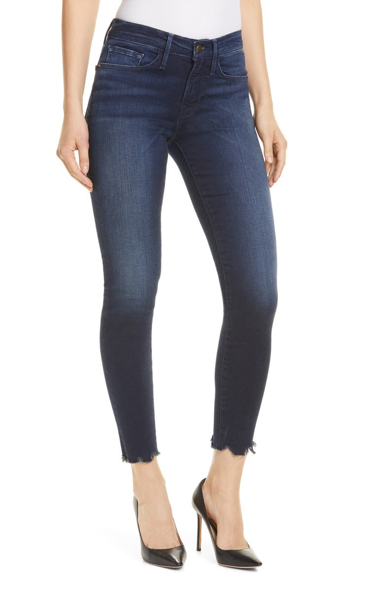 FRAME Le Skinny Chew Hem Ankle Jeans, Main, color, SHELBY