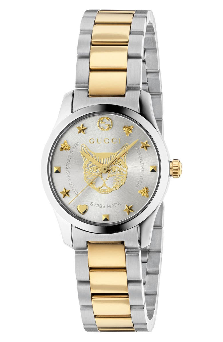 GUCCI G-Timeless Bracelet Watch, 27mm, Main, color, SILVER/ GOLD