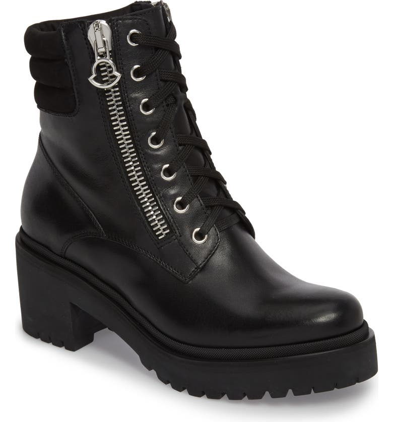 MONCLER Viviane Military Boot, Main, color, BLACK LEATHER