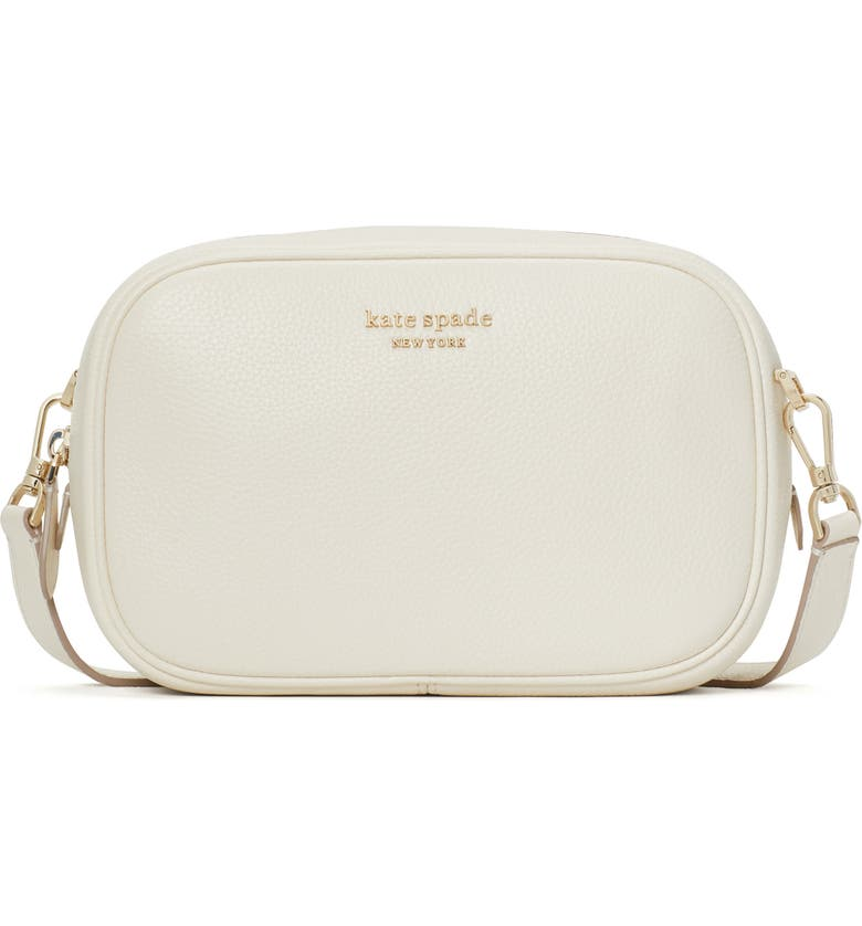 KATE SPADE NEW YORK astrid medium pebbled leather camera bag, Main, color, PARCHMENT