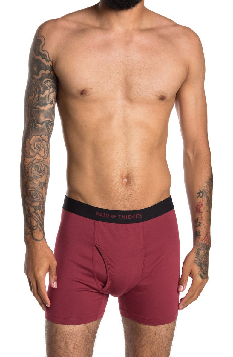 PAIR OF THIEVES The Solid Super Soft Boxer Briefs, Main, color, WINE