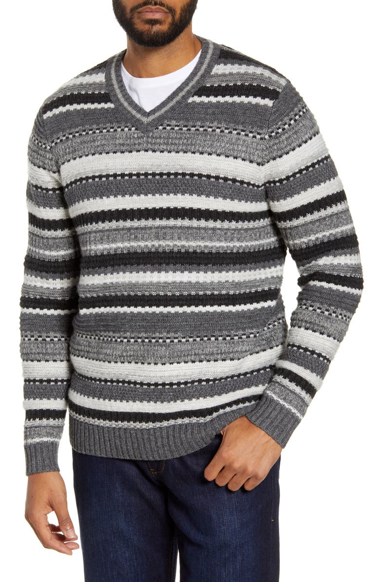 TOMMY BAHAMA Wave Shoal Striped V-Neck Sweater, Main, color, CHARCOAL