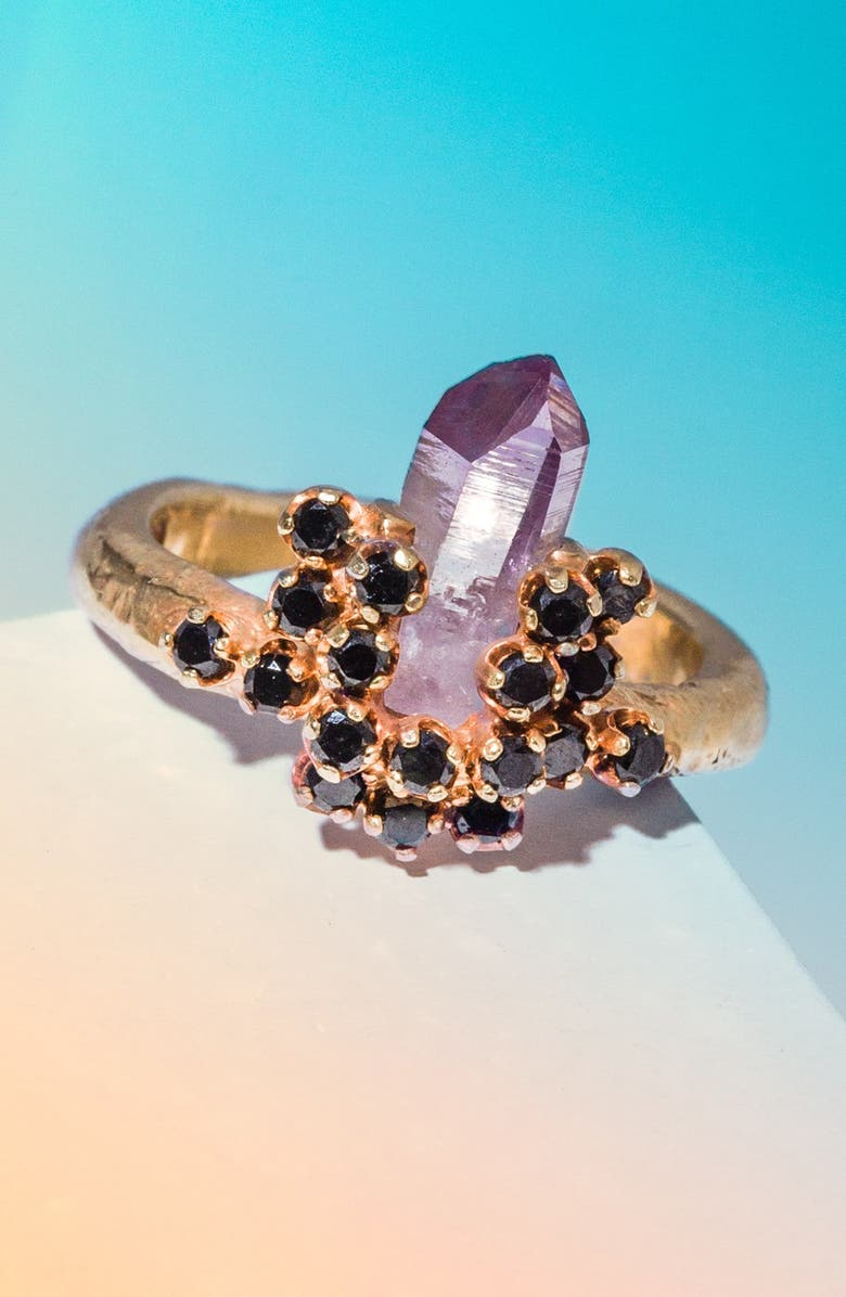UNEARTHEN 'Astara' Gold Vermeil Ring with Black Diamond & Amethyst, Main, color, 001