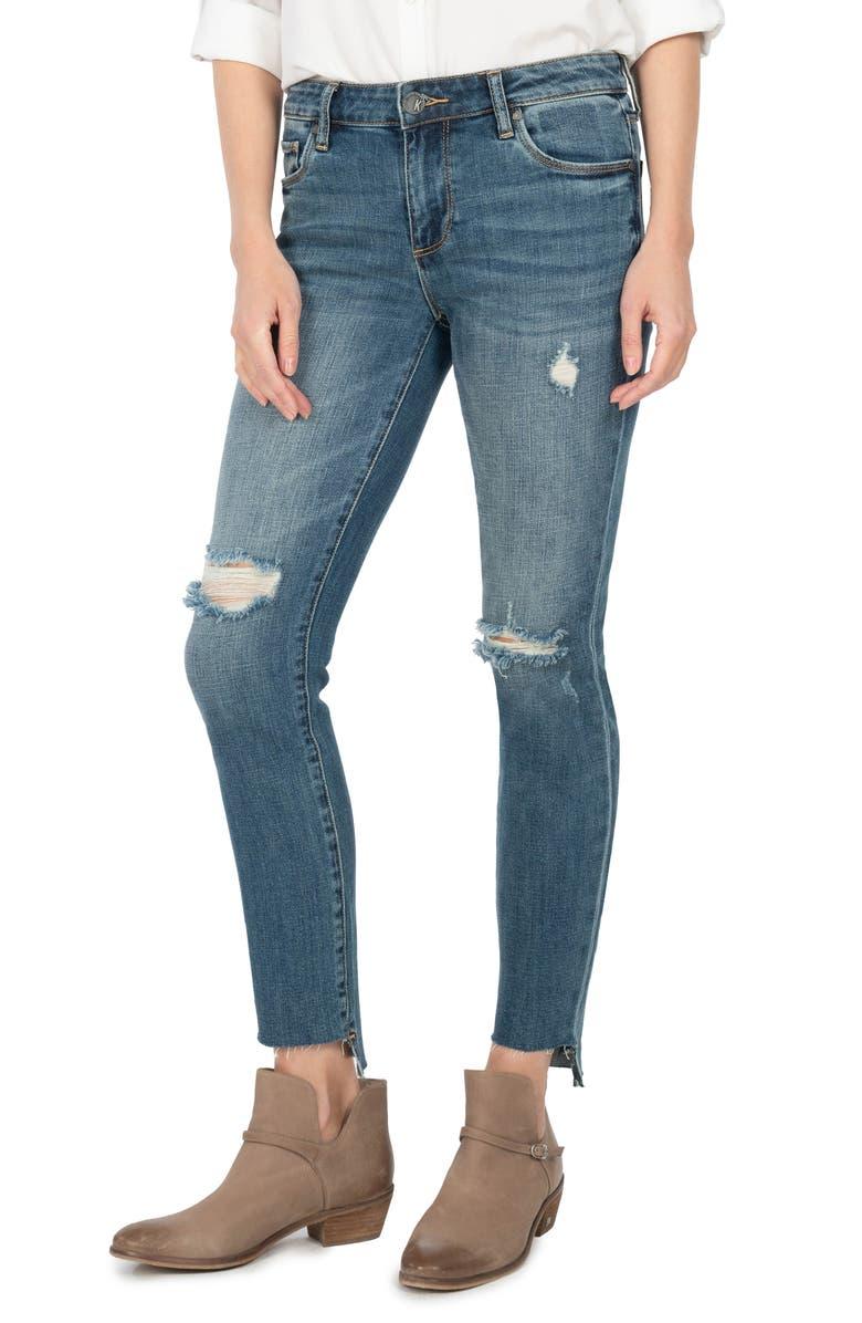 KUT FROM THE KLOTH <sup>®</sup> Reese Raw Step Hem Ankle Straight Leg Jeans, Main, color, IDEALLY