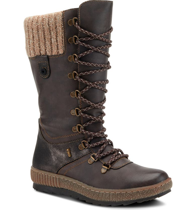 SPRING STEP Chibero Faux Shearling Lined Water Resistant Boot, Main, color, DARK BROWN SYNTHETIC