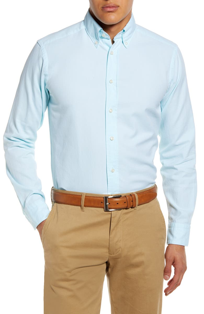ETON Soft Casual Line Slim Fit Oxford Shirt, Main, color, GREEN