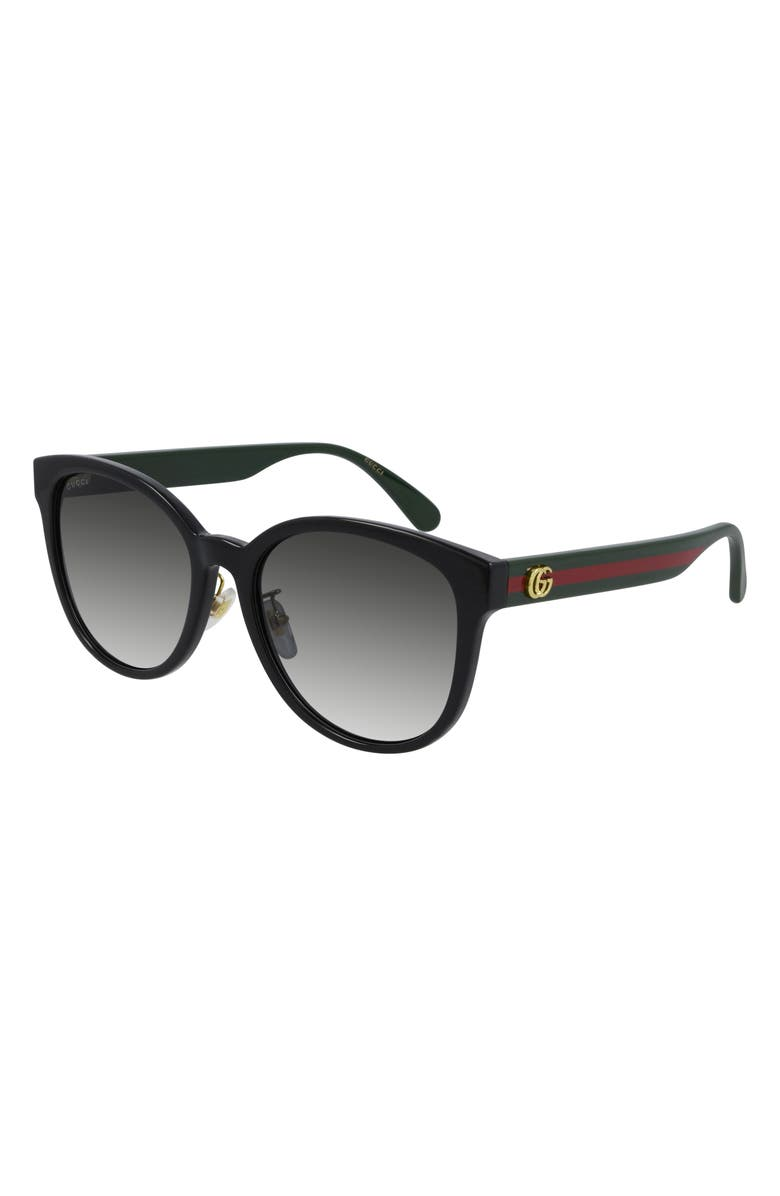 GUCCI 56mm Round Sunglasses, Main, color, BLACK/ GREY GRADIENT