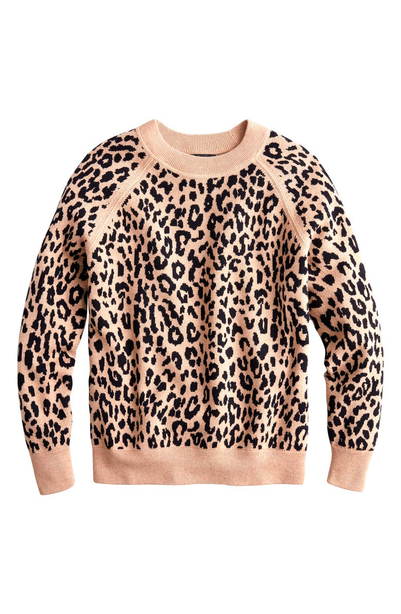 J.CREW Leopard Boyfriend Crewneck Sweater, Main, color, 001