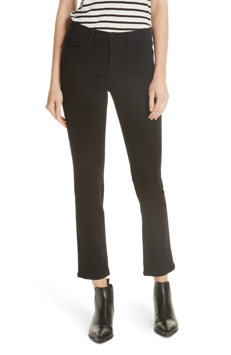 FRAME Le High Straight High Rise Jeans, Main, color, 001
