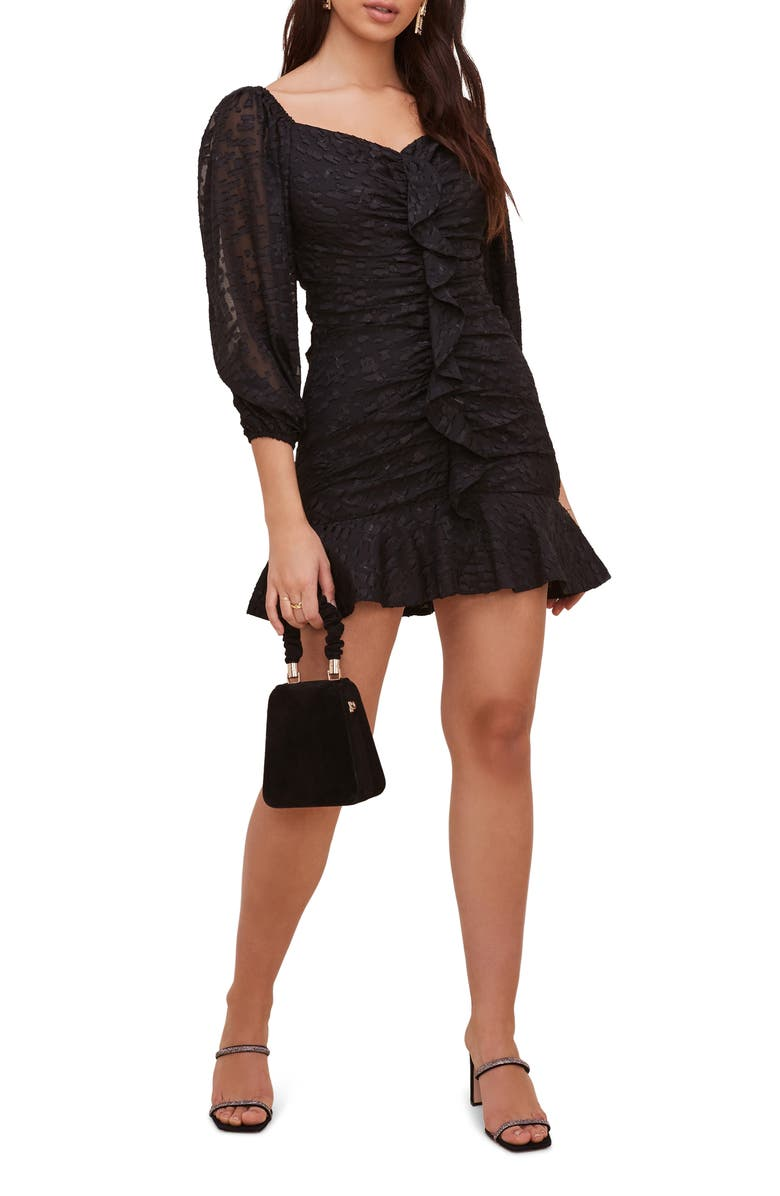 ASTR the Label Cinched Ruffle Minidress, Main, color, 001