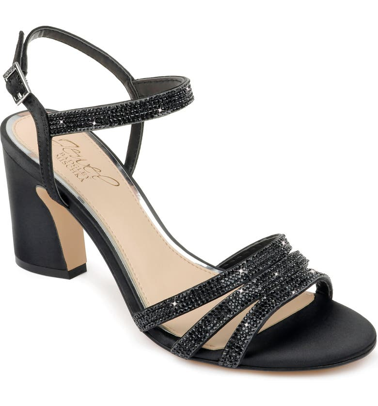 JEWEL BADGLEY MISCHKA Brighton Sandal, Main, color, BLACK SATIN