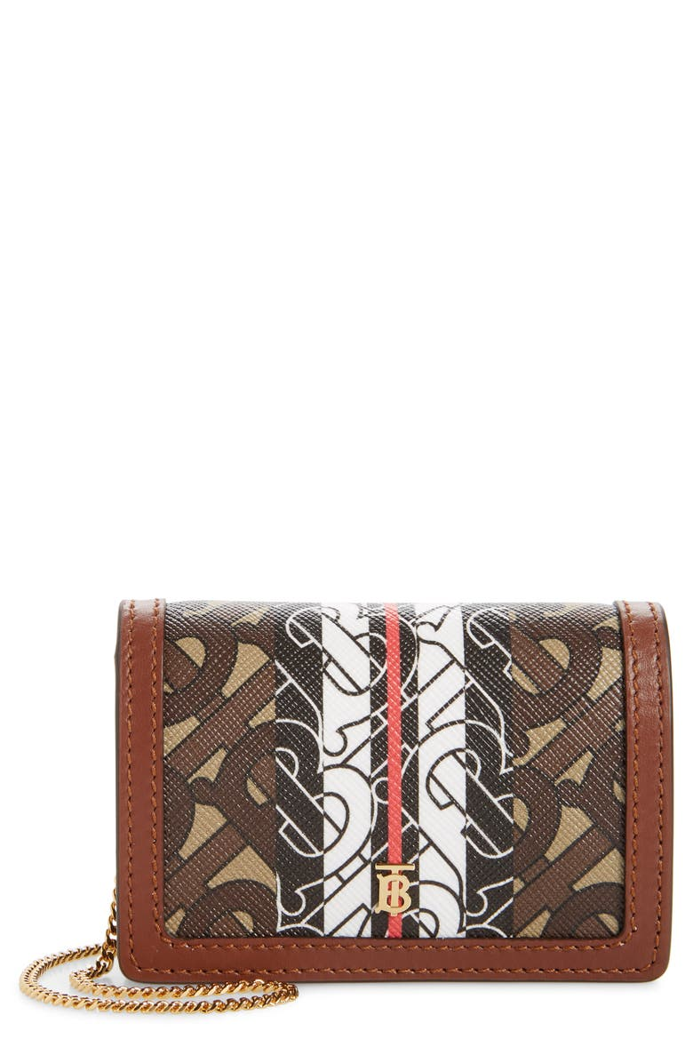 BURBERRY Monogram Stripe E-Canvas Card Case with Detachable Strap, Main, color, BRIDLE BROWN