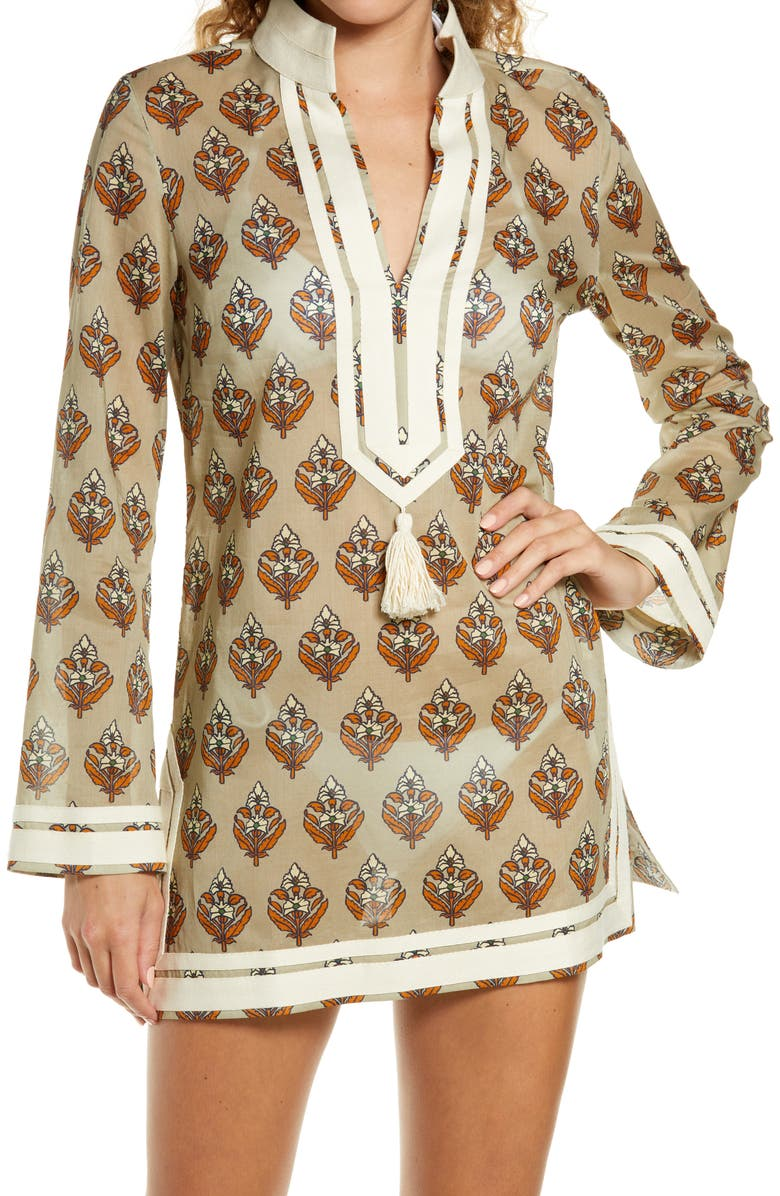 TORY BURCH Basket Weave Print Tassel Long Sleeve Cover-Up Tunic, Main, color, PAVE BLOCK PRINT