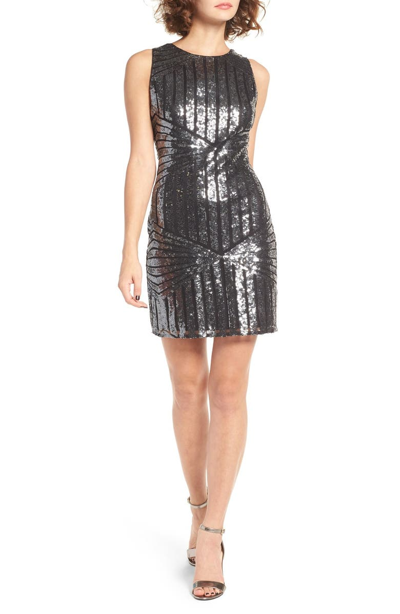 ONE CLOTHING Geometric Sequin Minidress, Main, color, 002