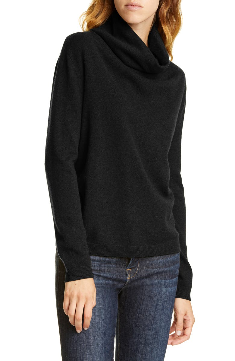 NORDSTROM SIGNATURE Cowl Neck Cashmere Sweater, Main, color, 001