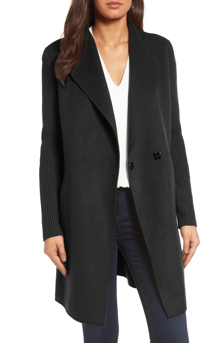 KENNETH COLE NEW YORK Double Face Coat, Main, color, Black