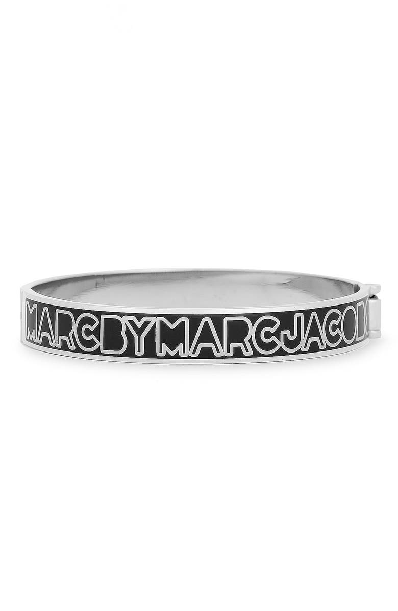 MARC BY MARC JACOBS Skinny Logo Bangle, Main, color, 001