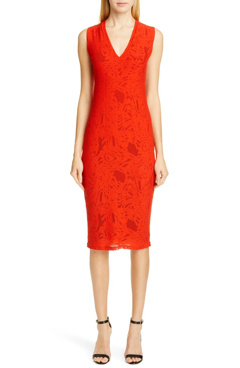 FUZZI Lace V-Neck Midi Dress, Main, color, 617