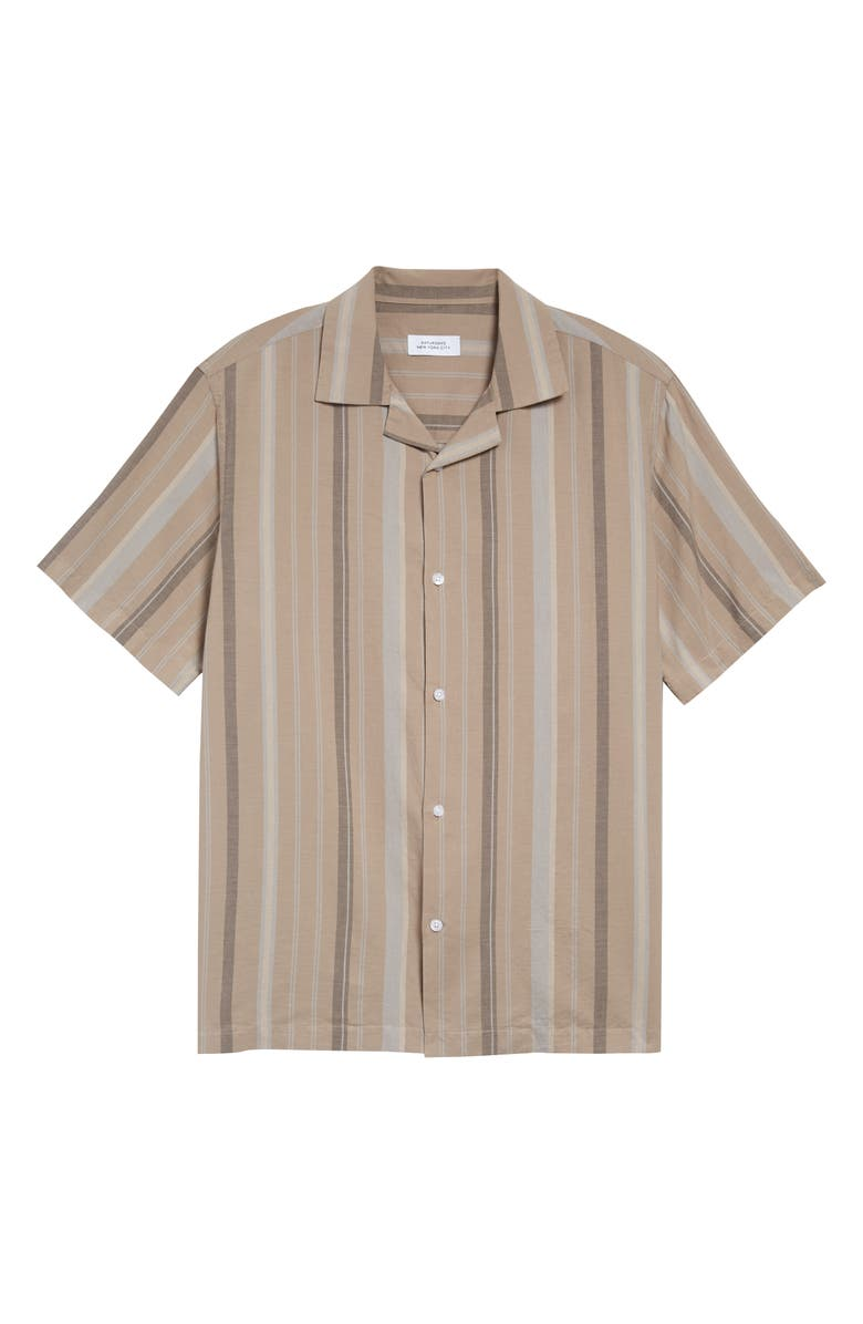 SATURDAYS NYC Canty Bay Stripe Short Sleeve Button-Up Camp Shirt, Main, color, 200