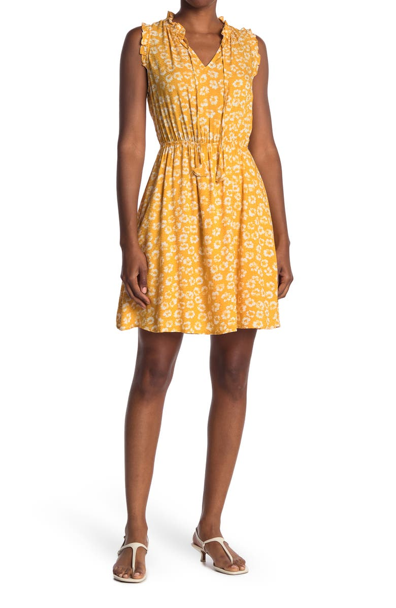COLLECTIVE CONCEPTS Tie Neck Patterned Dress, Main, color, YELLOW