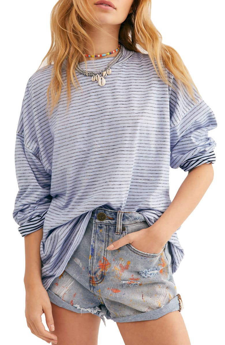 FREE PEOPLE Be Free Mock Neck Stripe Tunic, Main, color, CHAMBRAY COMBO