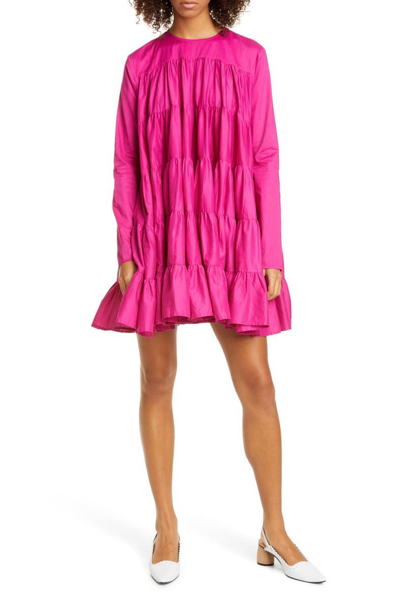 MERLETTE Soliman Tiered Minidress, Main, color, 500