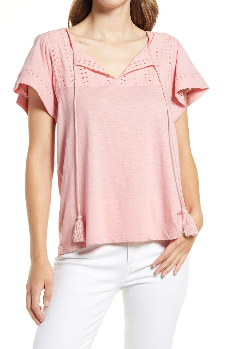 CASLON<SUP>®</SUP> Embroidered Eyelet Knit Top, Main, color, PINK BRIDE