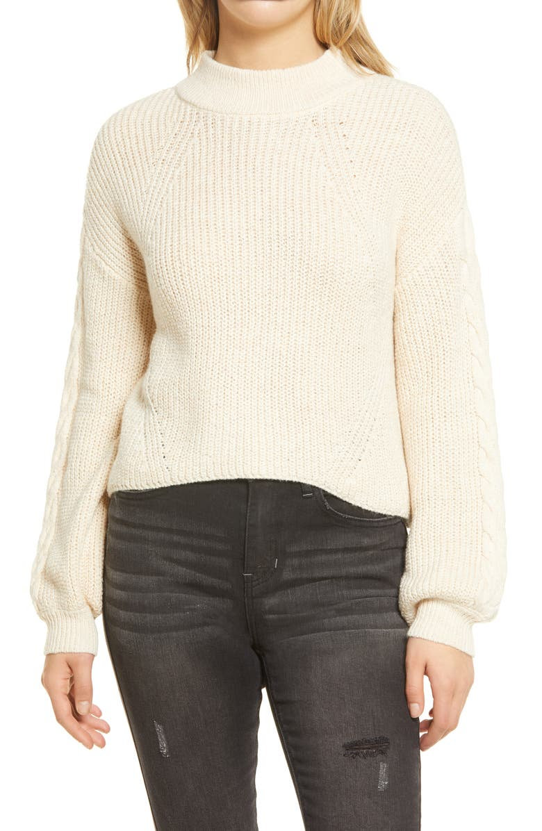 BP. Cable Knit Balloon Sleeve Sweater, Main, color, BEIGE OATMEAL LIGHT HEATHER