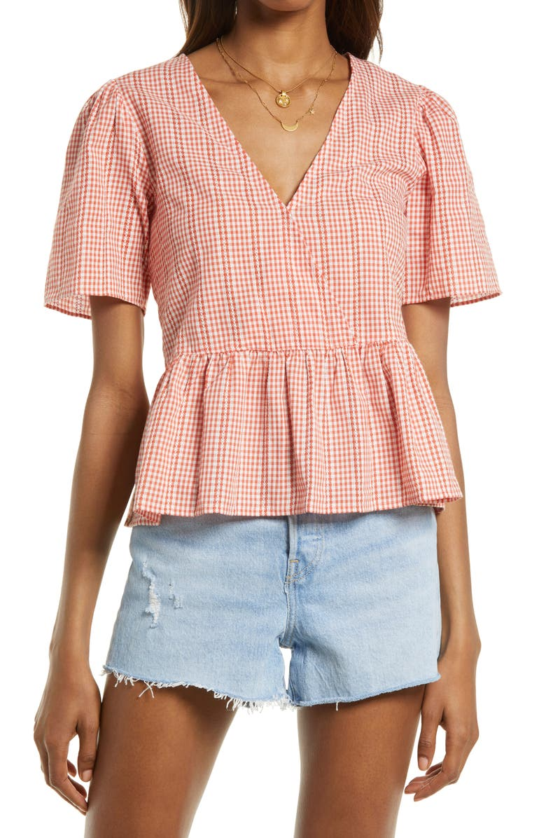 MADEWELL Gingham Crossover Peplum Top, Main, color, GINGHAM LACE RUSTED CLAY