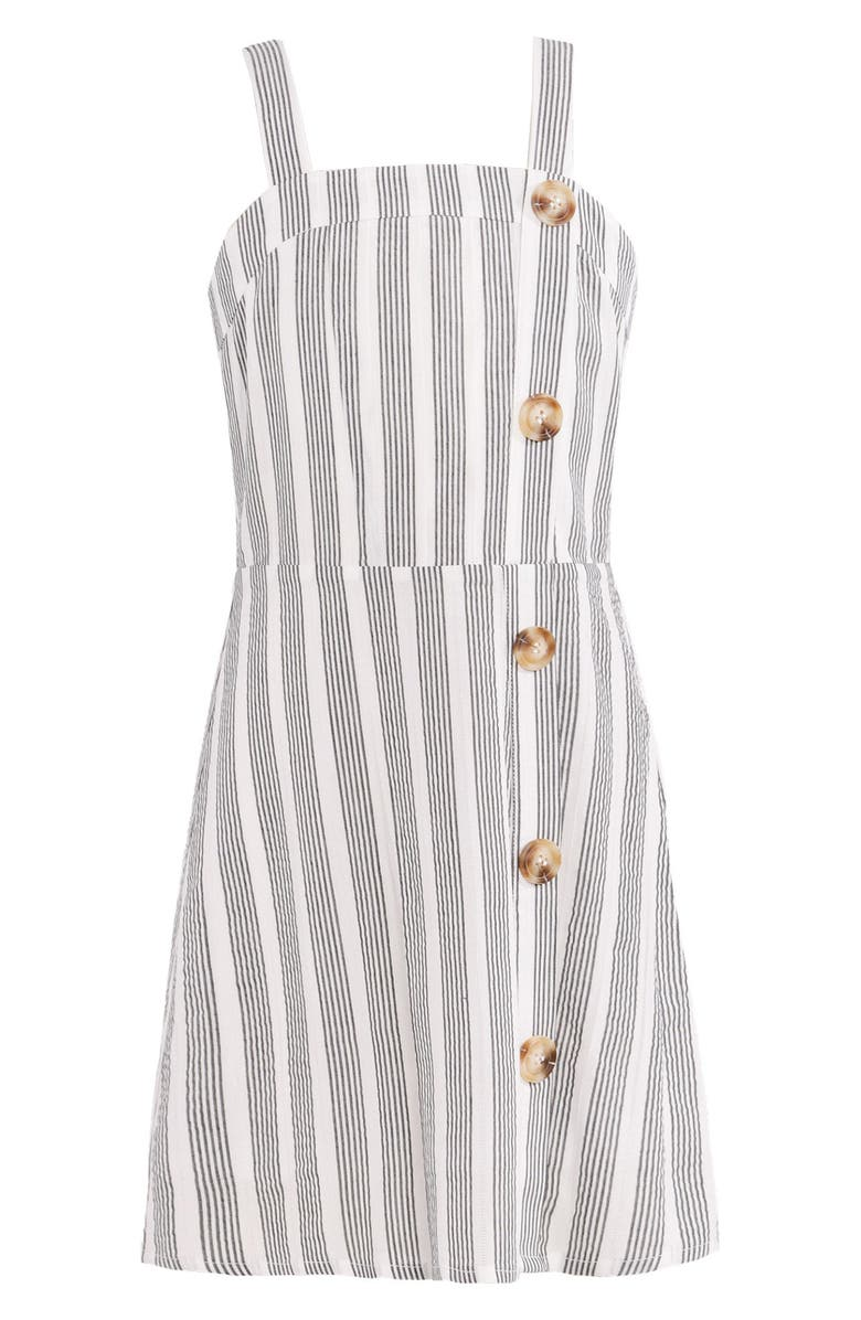 TRULY ME Stripe Dress with Button Detail, Main, color, WHT/MUL